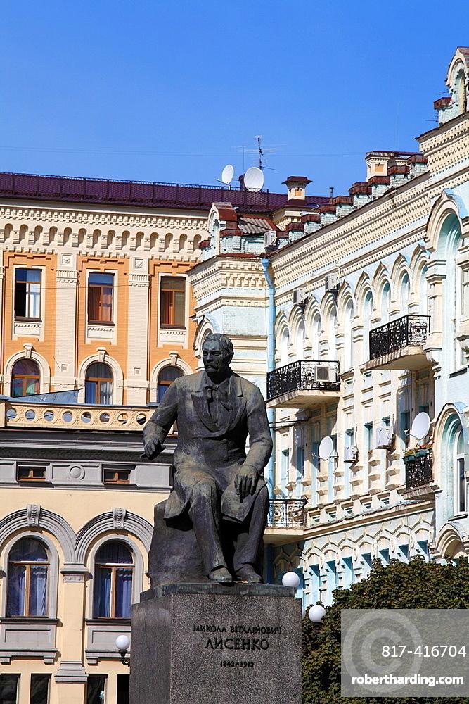 Ukraine, Kiev, Kyiv, Mykola Lysenko, musician, composer, statue,