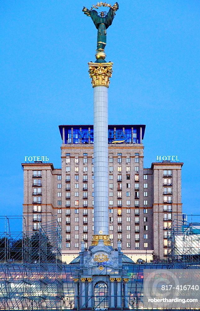 Ukraine, Kiev, Kyiv, Independence Monument, Independence Square, Maidan Nezalezhnosti, Hotel Ukraina,