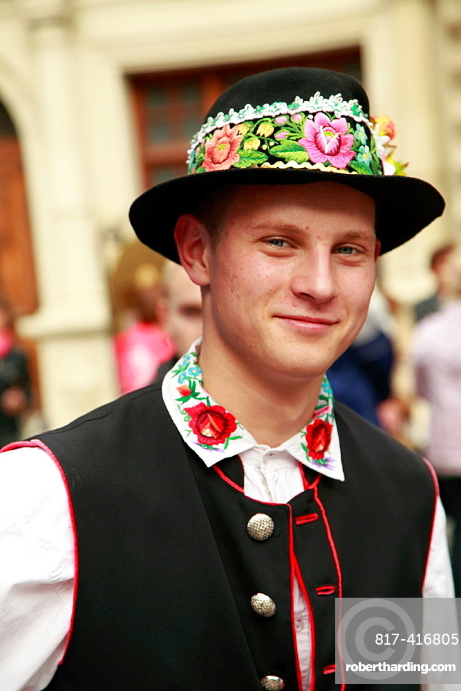 Ukraine, Lviv, young man in traditional dress,