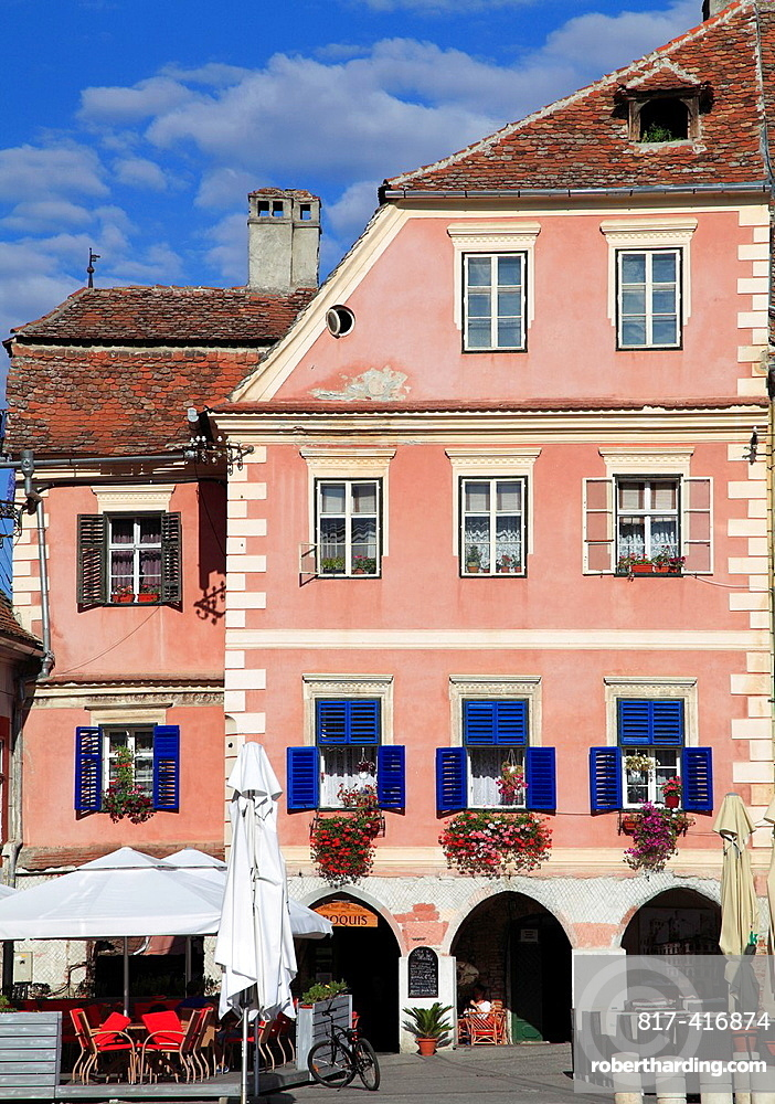 Romania, Sibiu, Piata Mica, typical architecture,