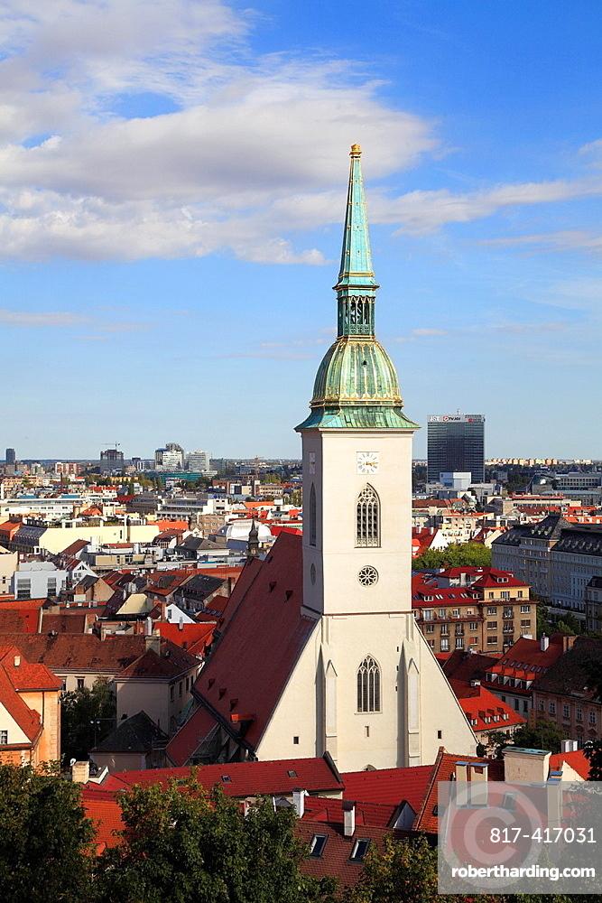 Slovakia, Bratislava, St Martins Cathedral, skyline, general view,