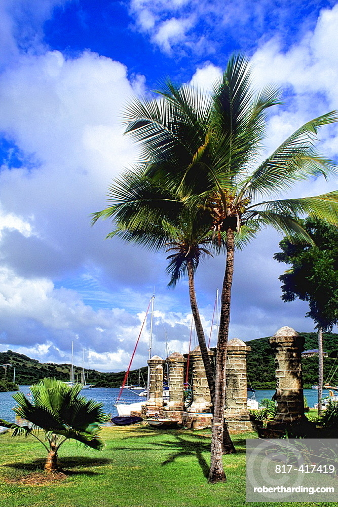 Beautiful port with ships at resort in famous colorful Nelsons Dockyard in English Harbour in Antigua