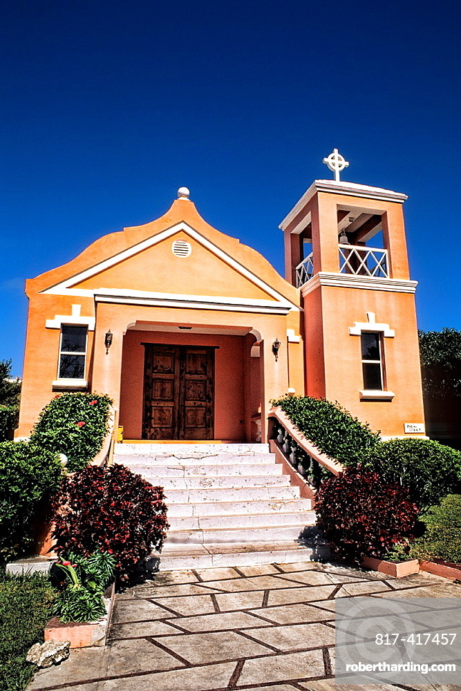 Famous colorful pastel architecture of First Nazarene Church in Bermuda