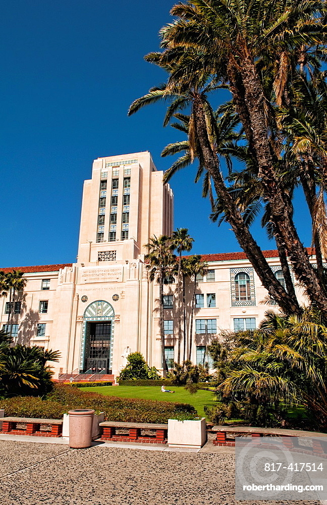 San Diego City Administration Building with old 1930s architecture and a landmark in Bay area of San Diego