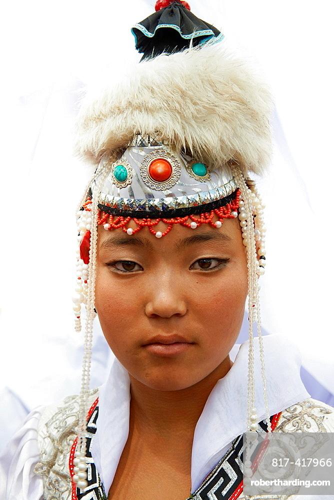 Mongolia, Ulan Bator, Sukhbaatar square, costume parade for the Naadam festival