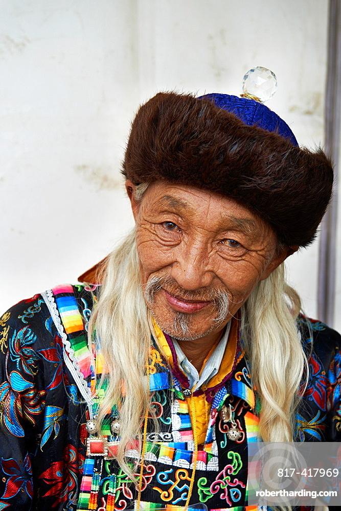 Mongolia, Ulan Bator, Sukhbaatar square, costume parade for the Naadam festival, Buriat people