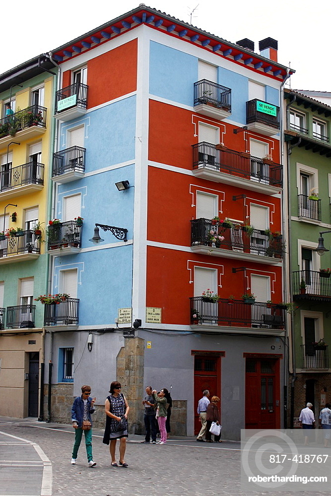 Colored building, Pamplona, Navarre, Spain