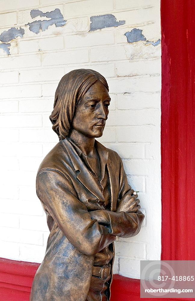 Bayamo Cuba second oldest Cuban city The Beatles Museum with bronze statue of John Lennon of the Beatles