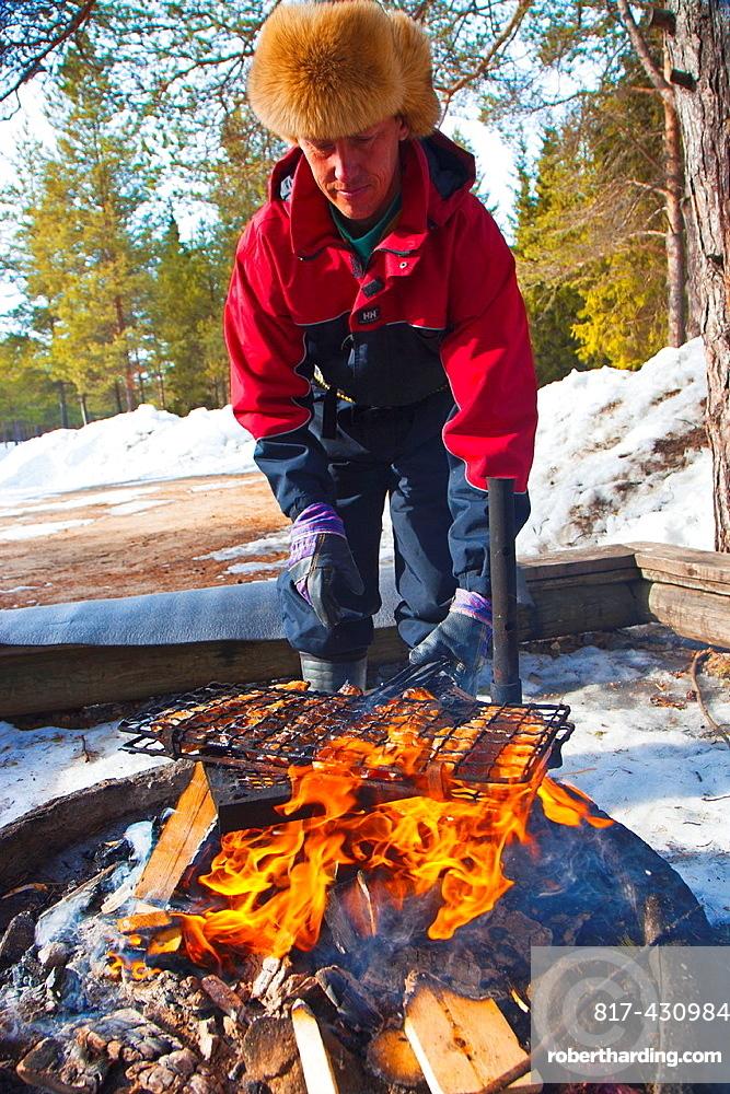 Eating and cooking salmon. Javrebodarna. Skelleftea. Vasterbotten, Lapland, Sweden, Scandinavia