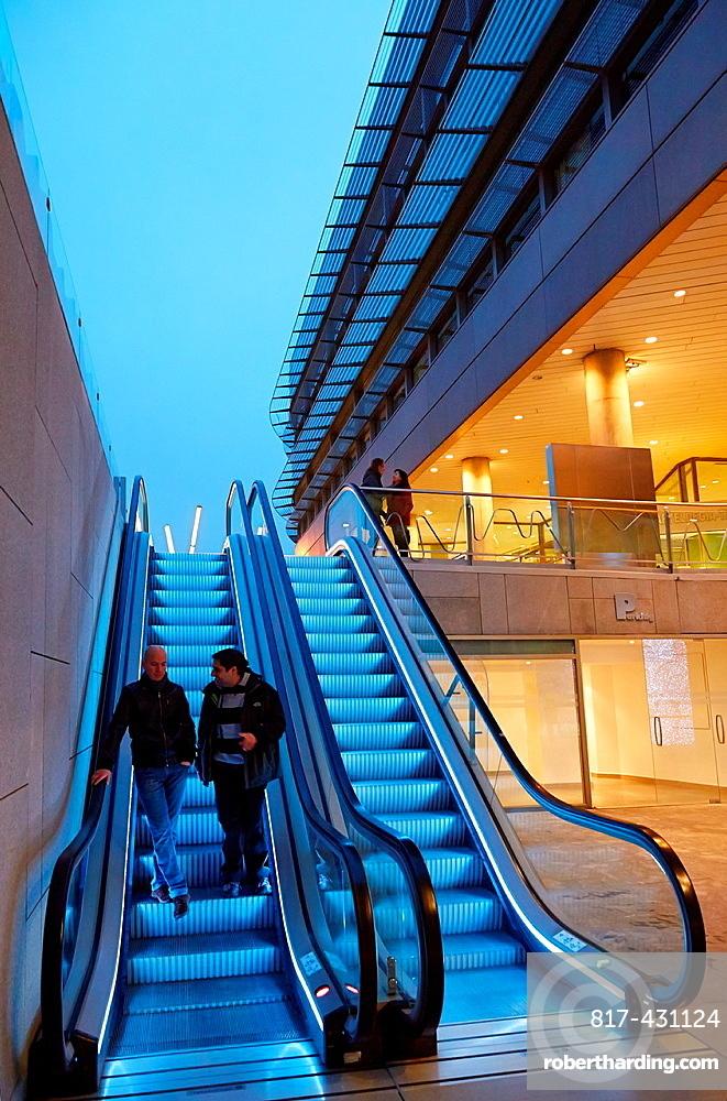 Escalators, Euskalduna Palace, Bilbao, Bizkaia, Basque Country, Spain.