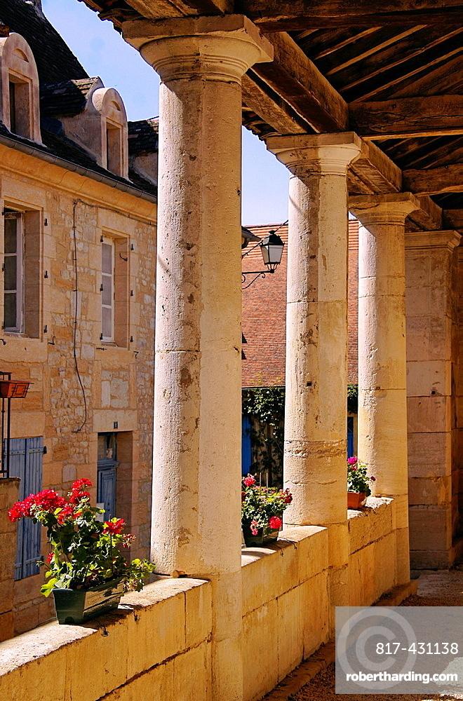 Market hall (18th century) at Thenon, Dordogne, Aquitaine, France