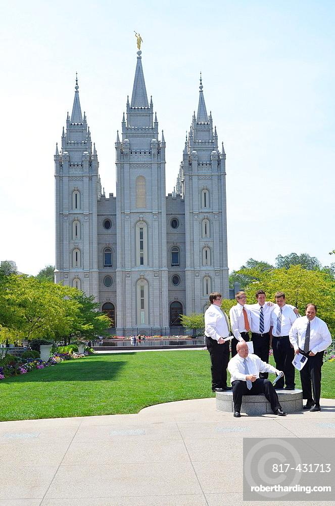 Salt Lake City Utah Usa Mormon Temple And Mormons.