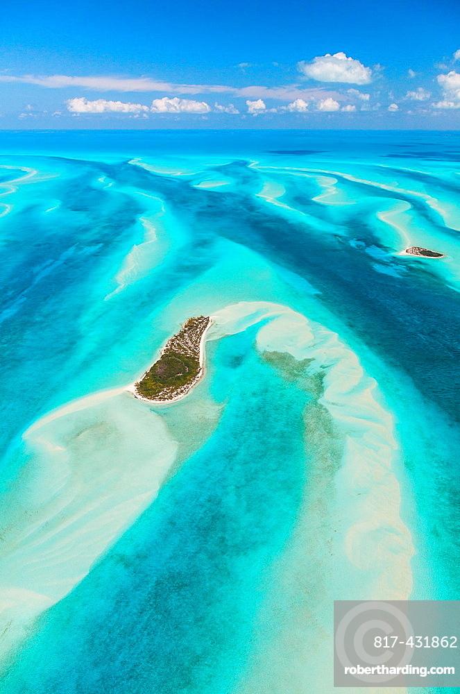 Aerial view, Eleuthera, Bahamas, America.