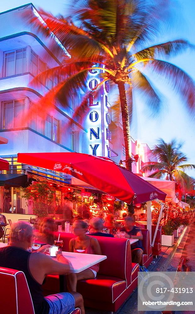 Outdoor restaurants in Ocean Drive at night, Miami Beach, Florida, USA