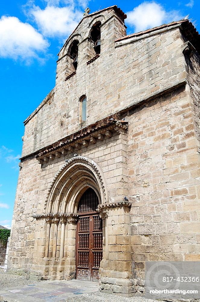main facade of the church of Sabugo, XIII century, Aviles, Asturias, Spain