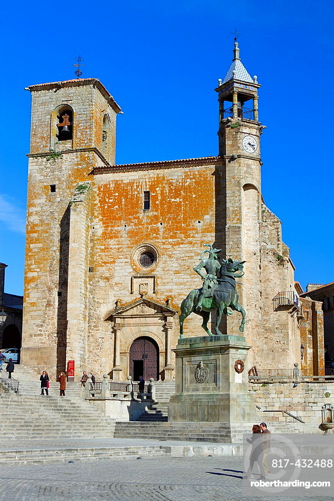 Equestrian statue of Francisco Pizarro in front of St Martin church 14th-16th century in Main Square of Trujillo Caceres Extremadura Spain