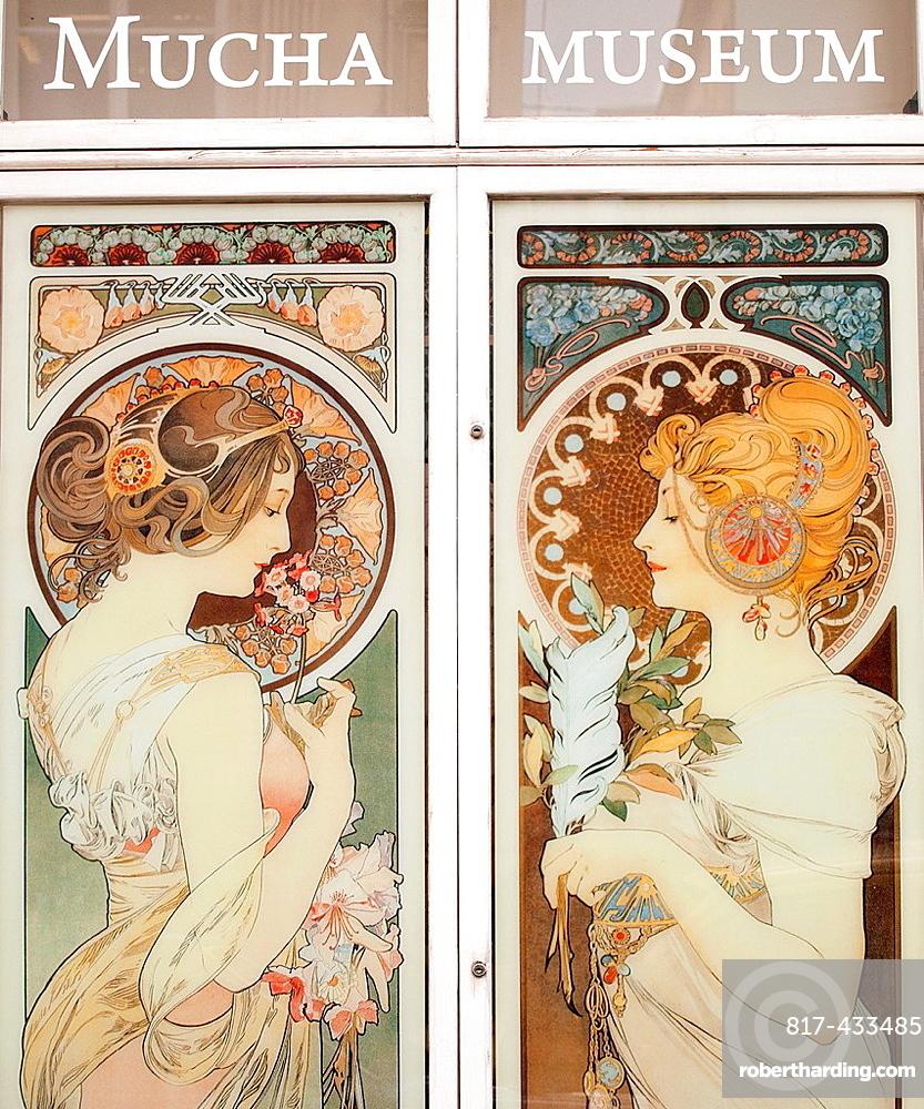 Window of Alfons Mucha Museum, Prague, Czech Republic, Europe
