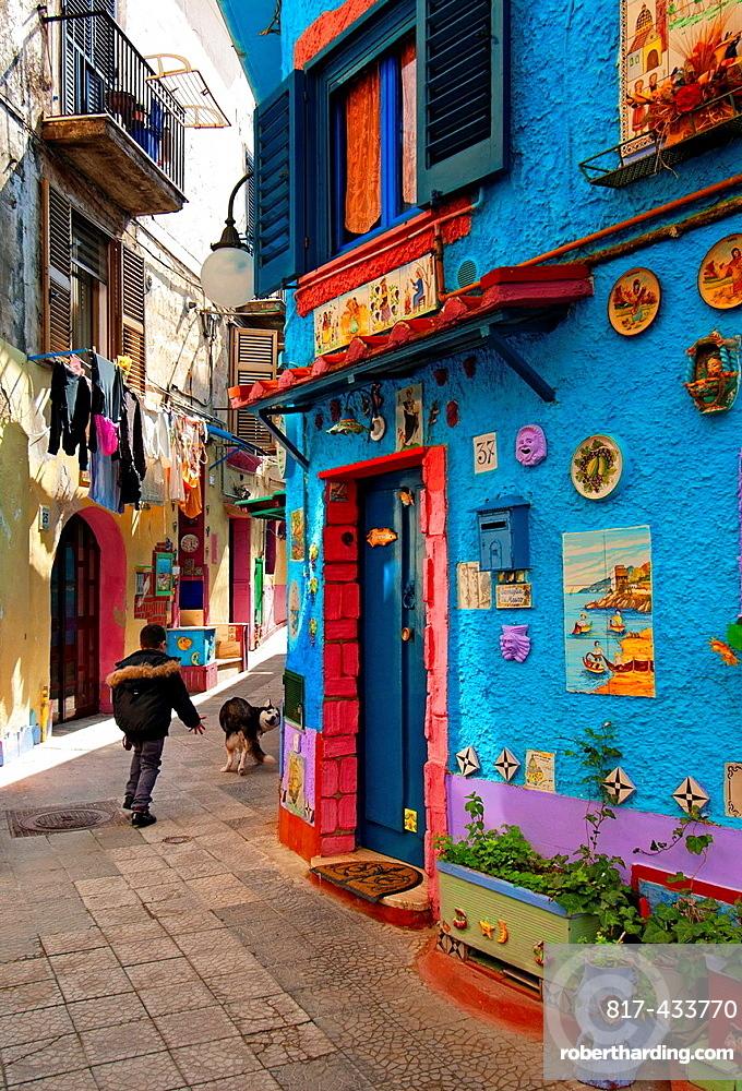 narrow, colorful street, old town of Vietri sul Mare, Amalfi Coast, Campania region, southern Italy, Mediterranean Sea, Italy, Europe