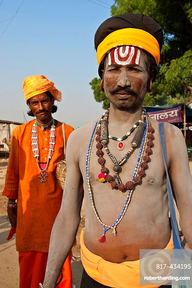 Portrait of two Sadhus wandering holy men Pushkar Festival, Pushkar, Rajasthan, India
