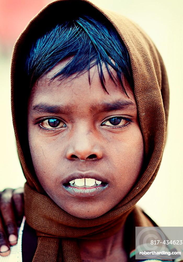 Portrait of an indian boy Varanasi, Benares, Uttar Pradesh, India