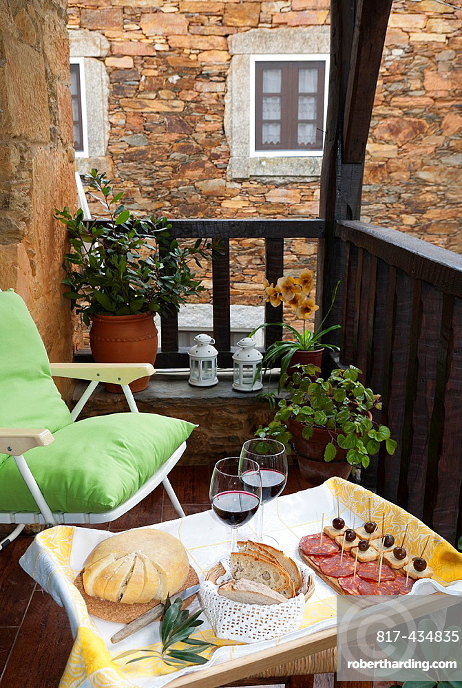 Picnic at the balcony in a rural tourism house, at Gois-Portugal