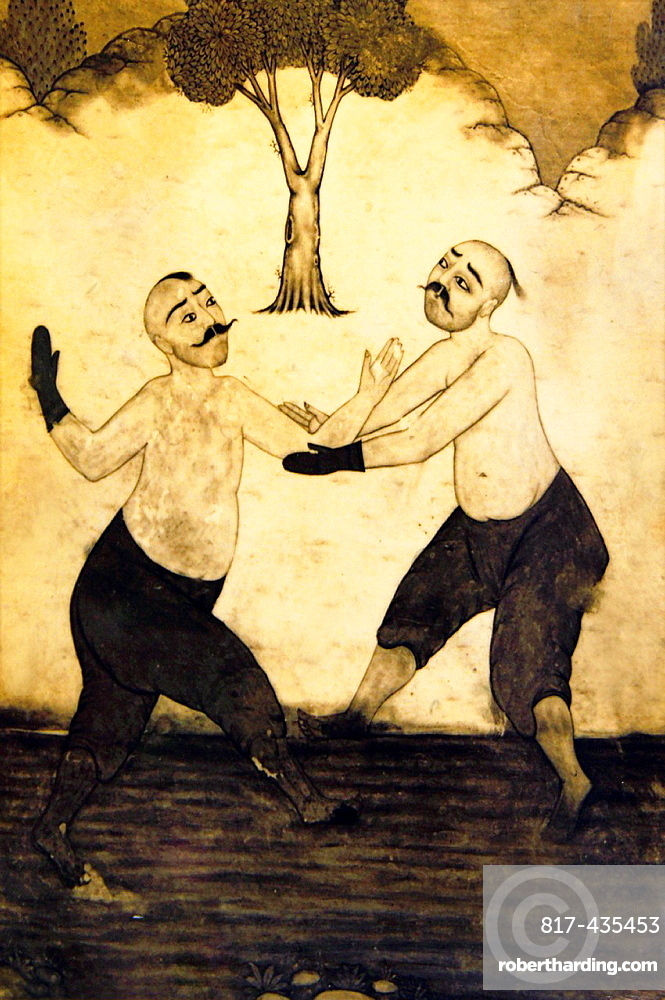 19th century drawing depicting wrestlers of 'Kirkpinar Guresleri' Turkish oil-wrestling, Edirne, Thrace, Turkey