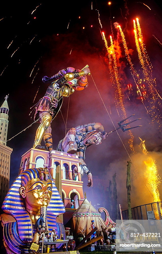 Falla of Plaza del Ayuntamiento and fireworks,Fallas festival,Valencia,Spain