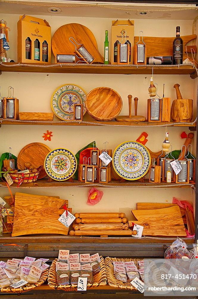 Souvenirs shop, Castiglione del Lago, Perugia Province, Umbria, Italy