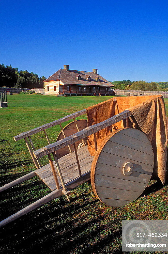 Wooden cart and the Great Hall at Grand Portage, Grand Portage National Monument, Minnesota.