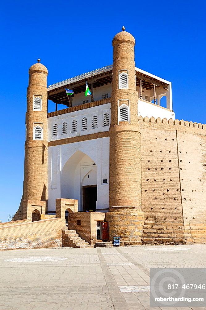Entrance of the Ark Fortress, Registan Square, Bukhara, Uzbekistan.