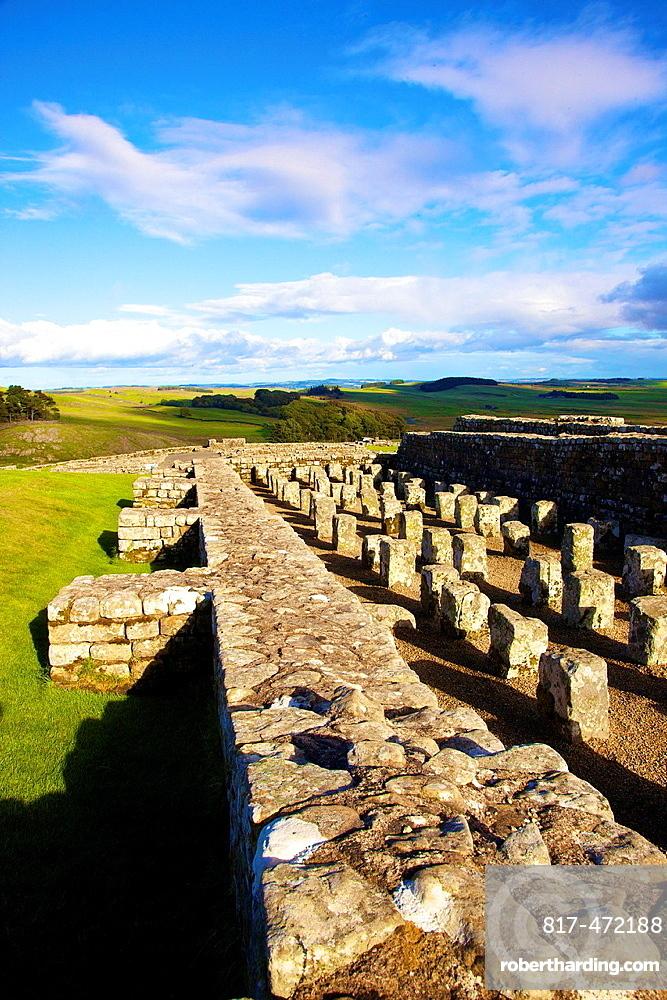 Housteads Roman Fort Granary on Hadrianís Wall National Trail, Northumberland England United Kingdom Great Britain.