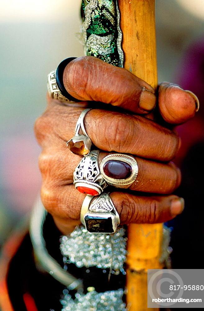 Sufi man's hand with jewelry, Pakistan