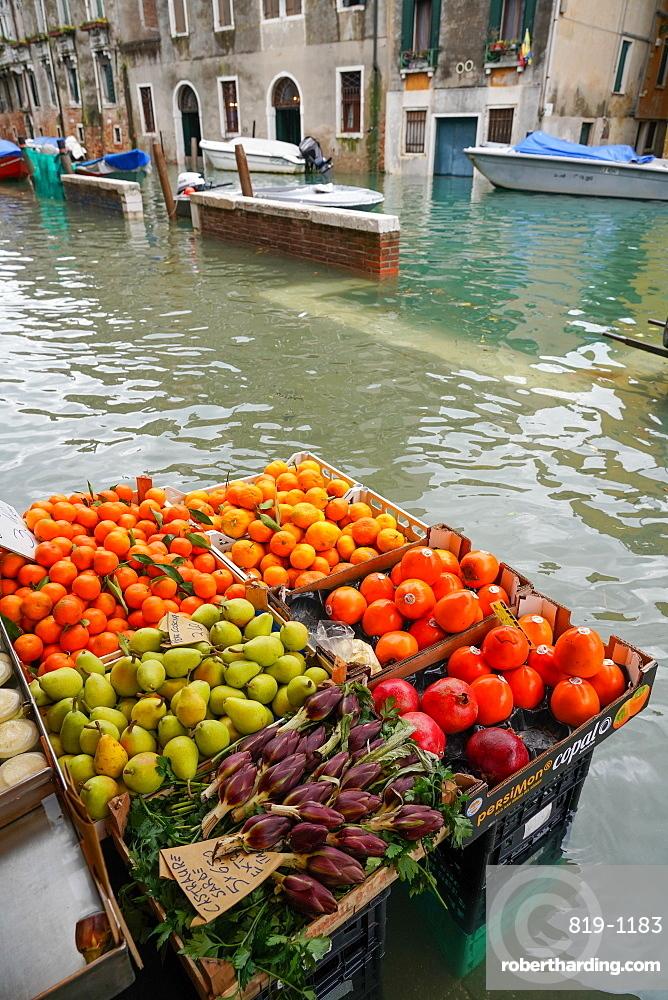 High tide in Venice, Fondamenta della Misericordia, november 2019, Venice, Italy, Europe
