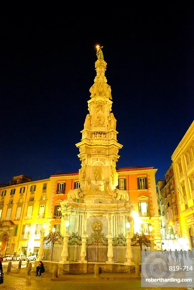 Obelisco dell'Immacolata, Piazza del Gesu Nuovo, Naples, Campania, Italy, Europe