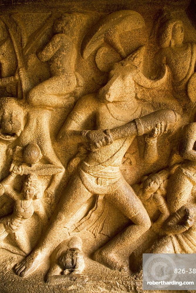 Detail from the Mahishasuramardini Cave, one of the rock-cut cave temples within the ancient site of Mahabalipuram (Mamallapuram), UNESCO World Heritage Site, Tamil Nadu, India, Asia