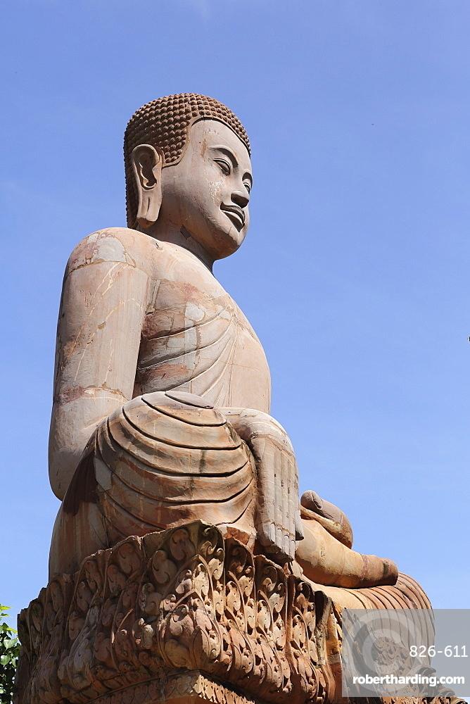 Long-eared Buddha figure at Udon Monastery (Vipassana Dhura Buddhist Centre) at Phnom Udon, Udong, Cambodia, Indochina, Southeast Asia, Asia