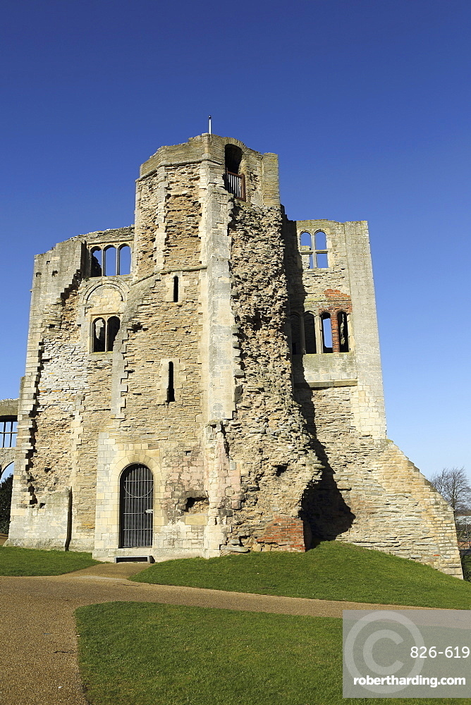 The Norman gateway and staircase tower at the ruins of Newark Castle in Newark-upon-Trent, Nottinghamshire, England, United Kingdom, Europe