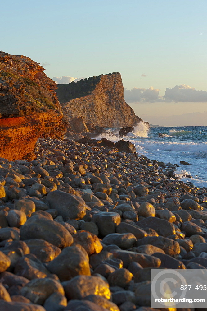 Sunset, Es Codolar Boulder beach, Ibiza, Balearic Islands, Spain, Mediterranean, Europe