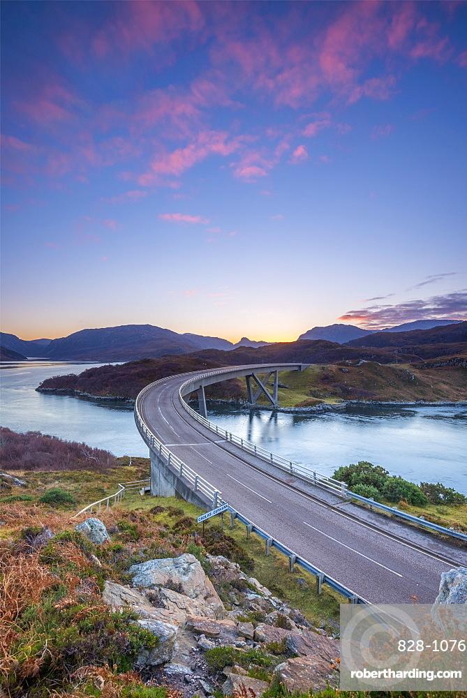 Loch a' Chairn Bhain, Kylesku, Kylesku Bridge, landmark on the North Coast 500 Tourist Route, Sutherland, Highlands, Scotland, United Kingdom, Europe