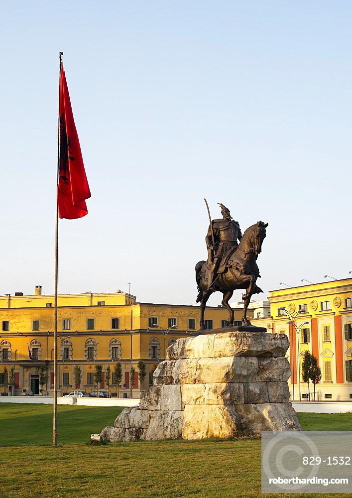 The Skanderbeg Monument in Skanderbeg Square in Tirana, capital of Albania, Europe