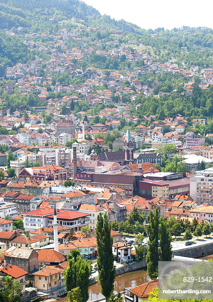 View across Sarajevo, capital city of Bosnia and Herzegovina, Europe