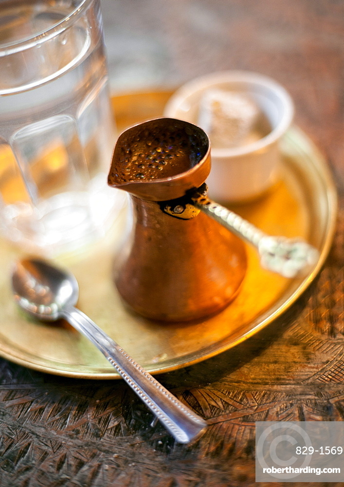 Turkish coffee as served in a cafe in Sarajevo, Bosnia and Herzegovina, Europe