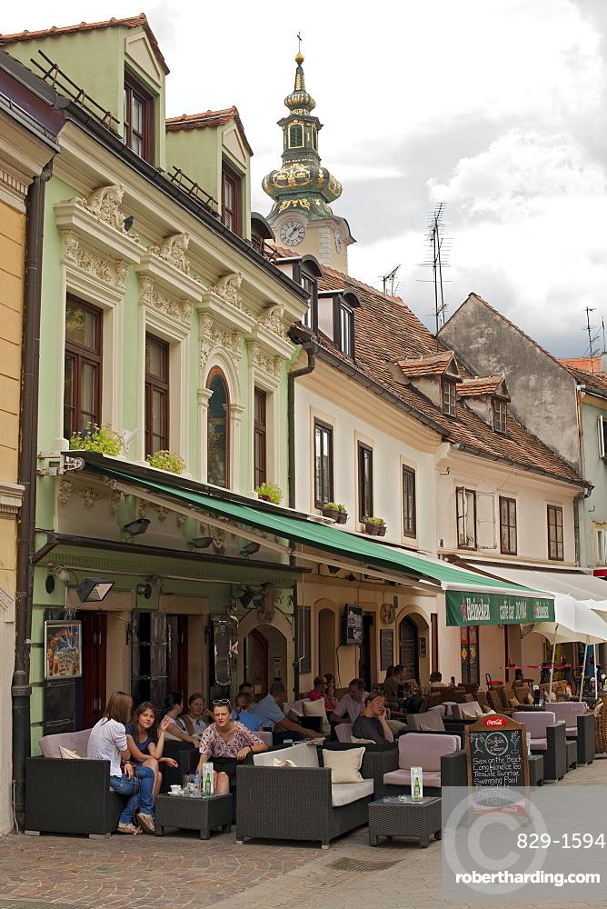Cafes on Tkalciceva street, Zagreb, capital of Croatia, Europe