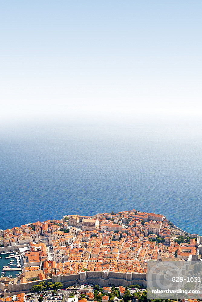 View from Mount Srd of the old town in the city of Dubrovnik, UNESCO World Heritage Site, Adriatic Coast, Croatia, Europe
