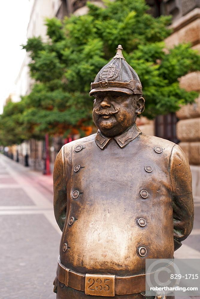 Hungarian policeman statue on Zrinyi Street, Budapest, Hungary, Europe