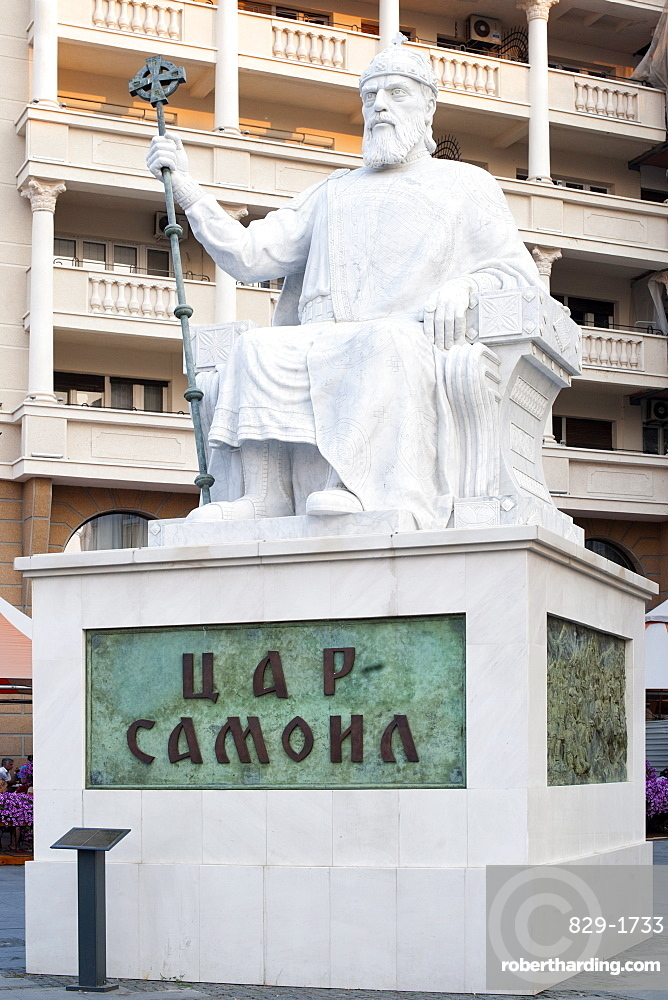 Monument to medieval Tsar Samuel in the central square in Skopje, Macedonia, Europe