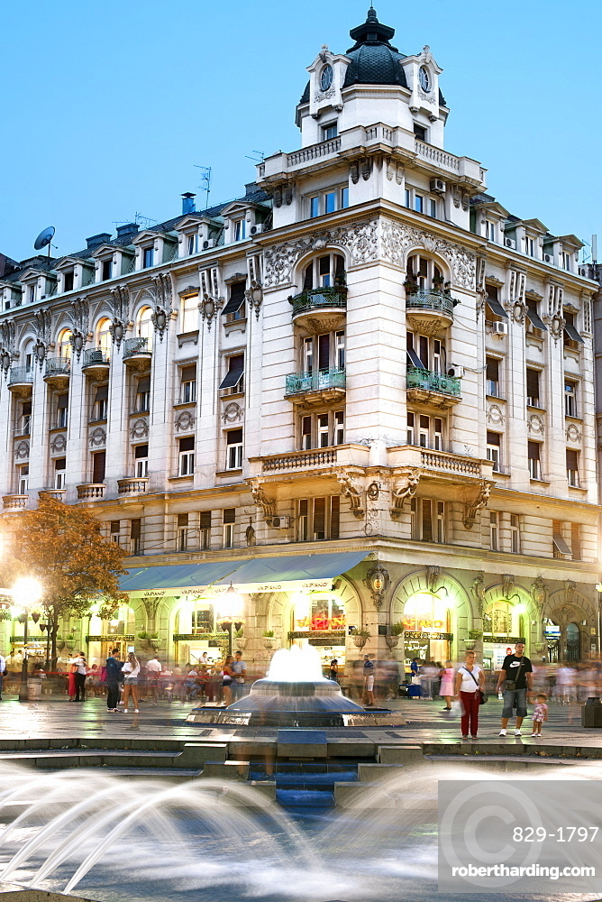 Fountain on Kneza Mihaila street in Belgrade, Serbia, Europe