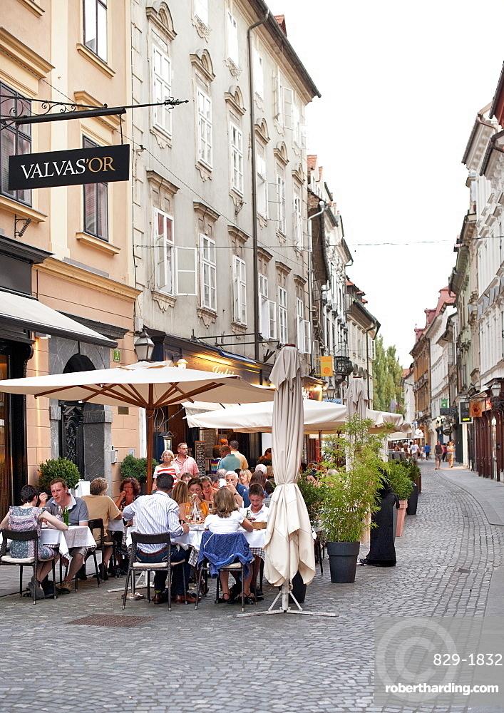 Sidewalk cafes in the old town in Ljubljana, Slovenia, Europe