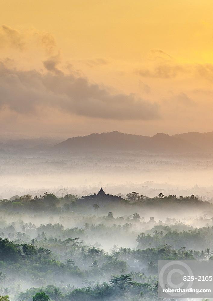 Dawn view of Borobodur, a 9th-century Buddhist Temple in Magelang, near Yogyakarta in central Java, Indonesia.