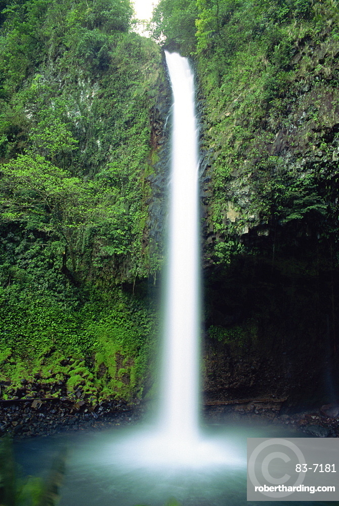 The Rio Fortuna waterfalls on the slopes of Volcan Arenal in Alajuela Province, Costa Rica, Central America